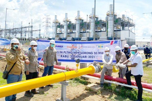 Infrastruktur PLTMG Sorong 50 MW Mengalirkan Gas Perdananya