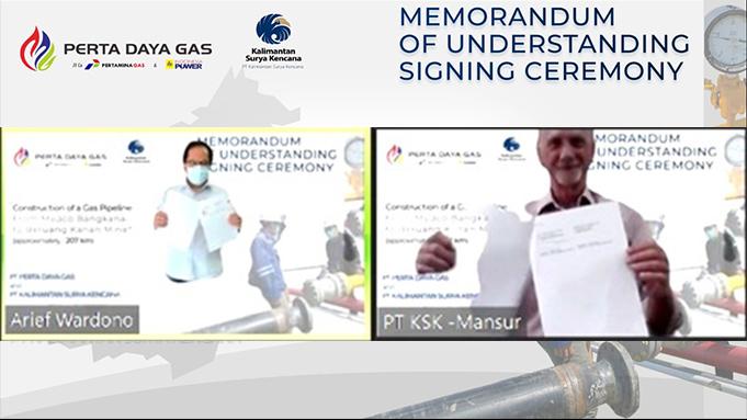 Memorandum of Understanding/MoU antara PT Perta Daya Gas dengan PT Kalimantan Surya Kencana 26 Juli 2021